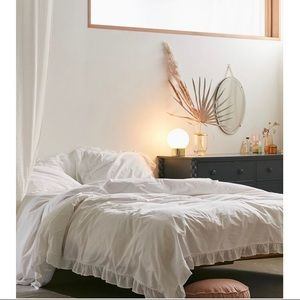 Urban Outfitters Gauze Ruffle Duvet Cover & Shams